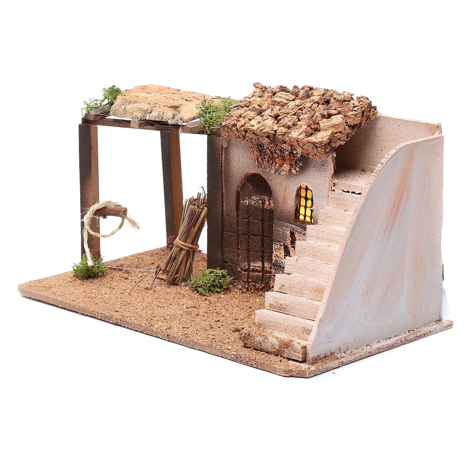 Casa illuminata presepe in sughero con scala 15x25x15 4