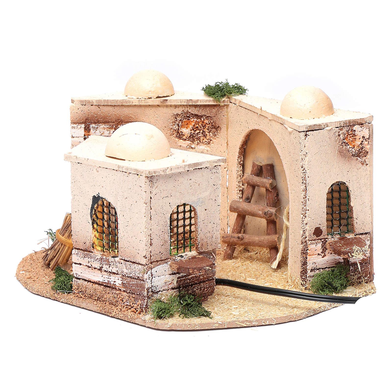 Casa araba presepe illuminata in sughero 15x25x10 cm 4