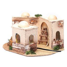 Casa araba presepe illuminata in sughero 15x25x10 cm s2