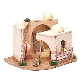 Casa araba presepe illuminata in sughero 15x25x10 cm s3