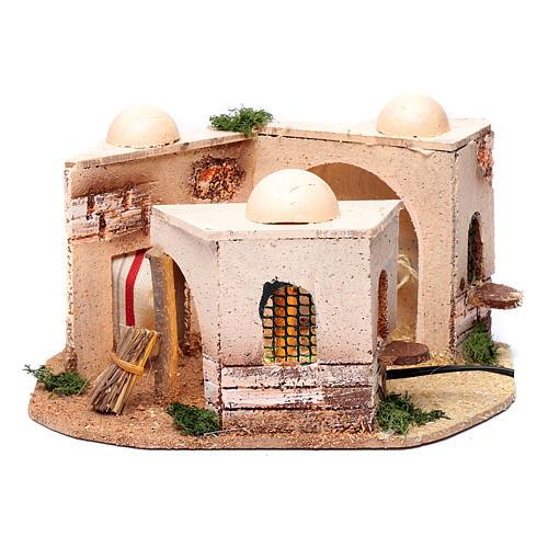 Casa araba presepe illuminata in sughero 15x25x10 cm 1