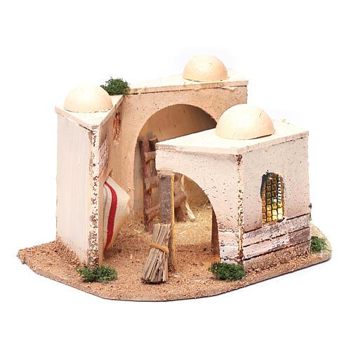 Casa araba presepe illuminata in sughero 15x25x10 cm 3