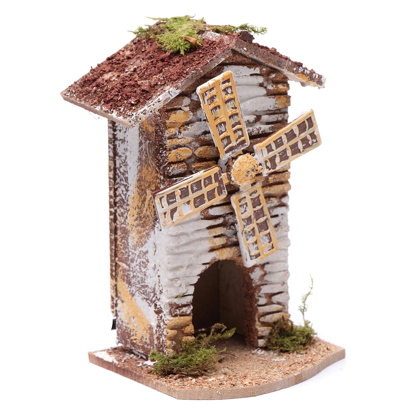 Moulin à vent liège électrique crèche 15x9,5x8 cm 4
