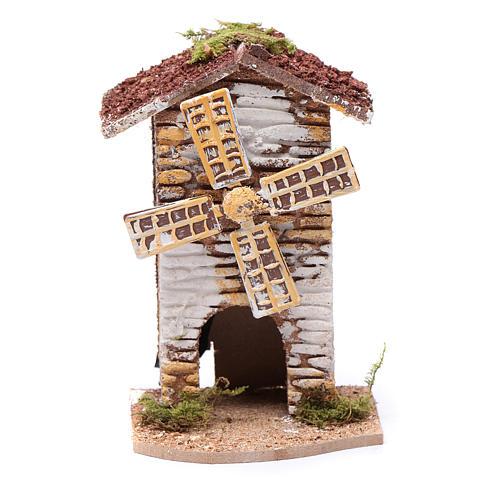 Moulin à vent liège électrique crèche 15x9,5x8 cm 1