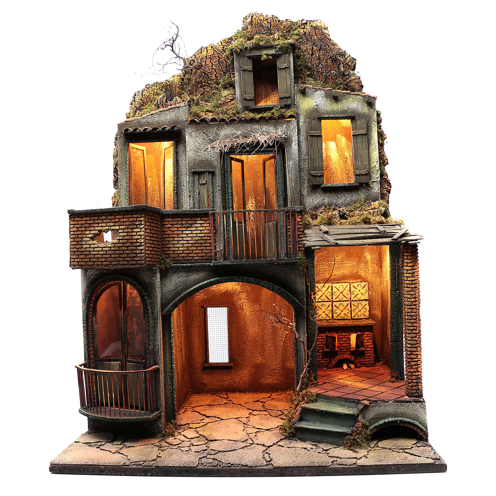 Neapolitan nativity scene setting house hut and fireplace with light 115x80x60 cm 4