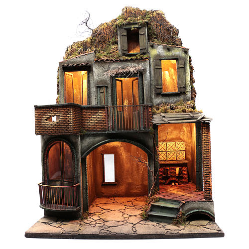 Neapolitan nativity scene setting house hut and fireplace with light 115x80x60 cm 1