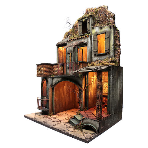 Neapolitan nativity scene setting house hut and fireplace with light 115x80x60 cm 2