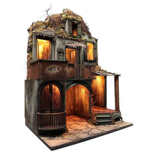 Neapolitan nativity scene setting house hut and fireplace with light 115x80x60 cm 3