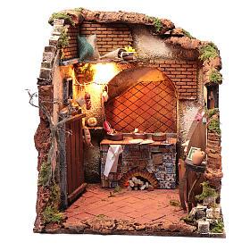 Ambientazione interno casa 50x40x40 cm presepe Napoli 24 cm s1