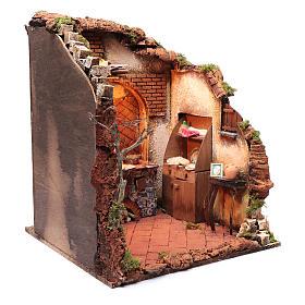 Ambientazione interno casa 50x40x40 cm presepe Napoli 24 cm s3