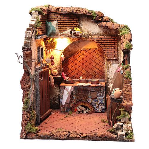 Ambientazione interno casa 50x40x40 cm presepe Napoli 24 cm 1