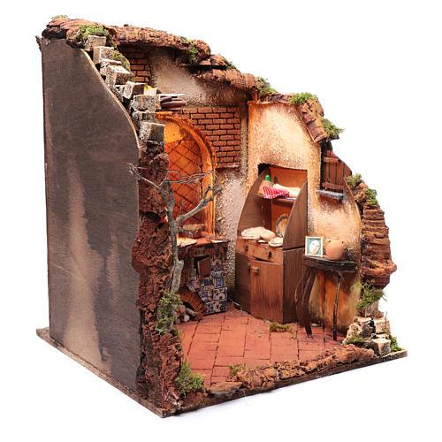 Ambientazione interno casa 50x40x40 cm presepe Napoli 24 cm 3