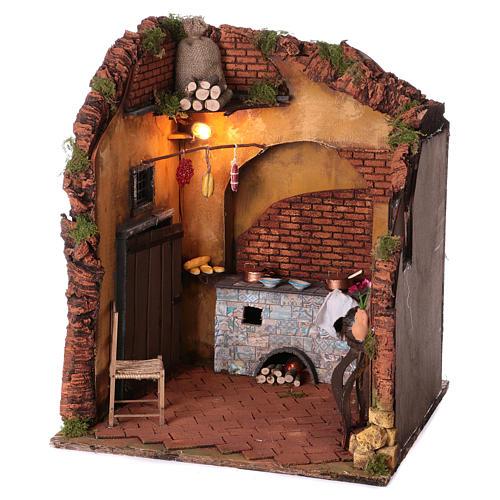 Ambientazione interno casa 50x40x40 cm presepe Napoli 24 cm 2