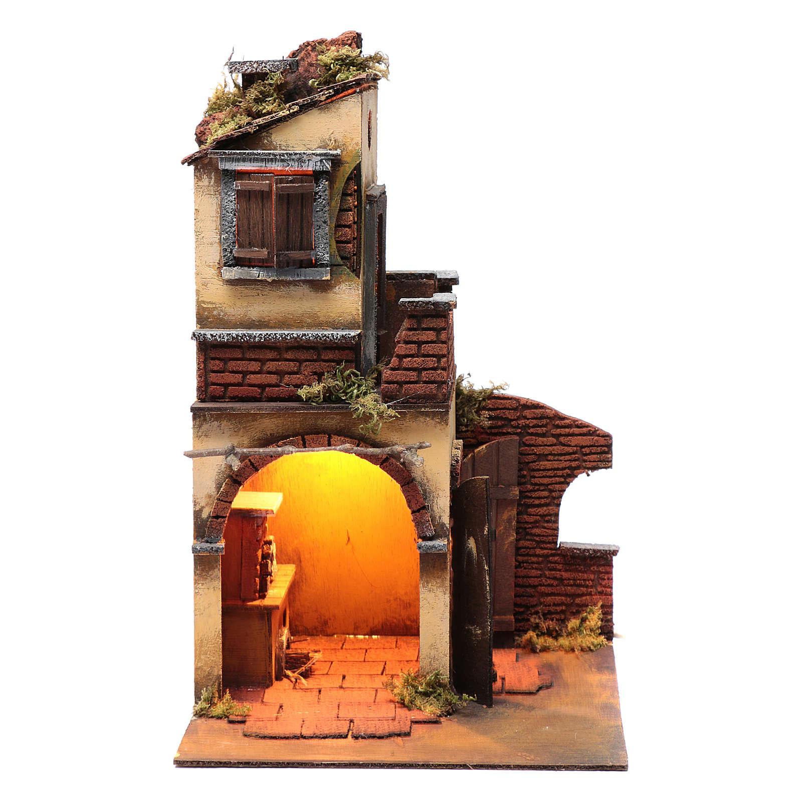 Casa doppio arco con luce e camino presepe Napoli 4