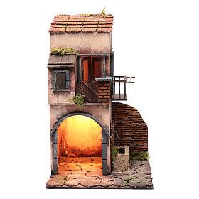 Casa capanna ad arco fontanella luce presepe Napoli 45x25x25 cm s1