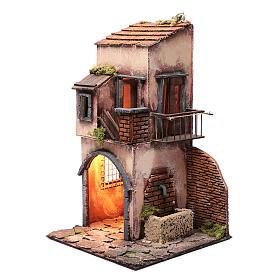 Casa capanna ad arco fontanella luce presepe Napoli 45x25x25 cm s2