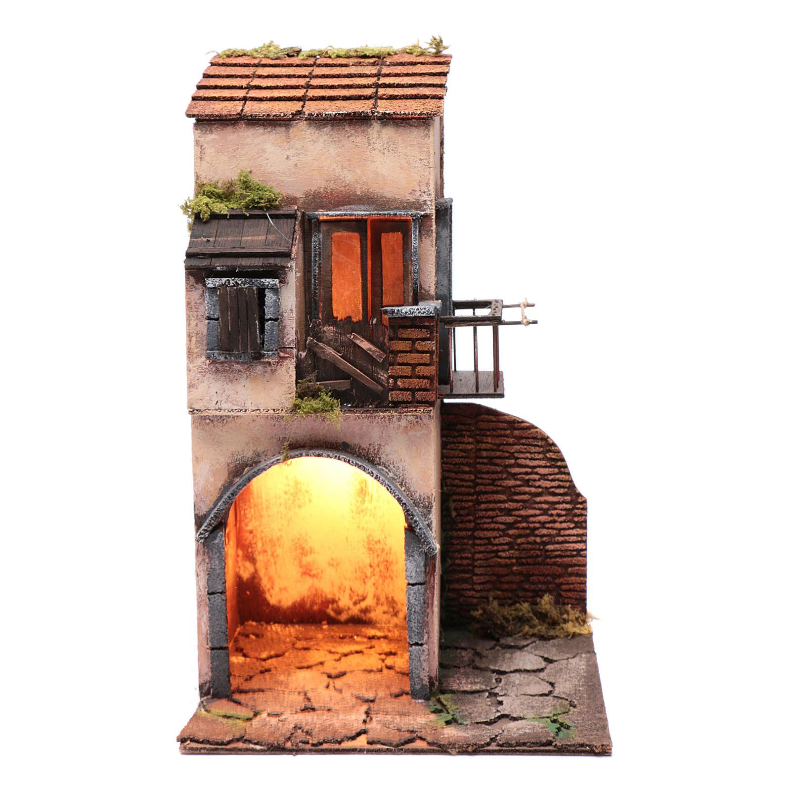 Casa balcone e capanna 40x25x25 cm presepe Napoli 4