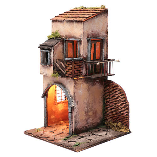 Casa balcone e capanna 40x25x25 cm presepe Napoli 2