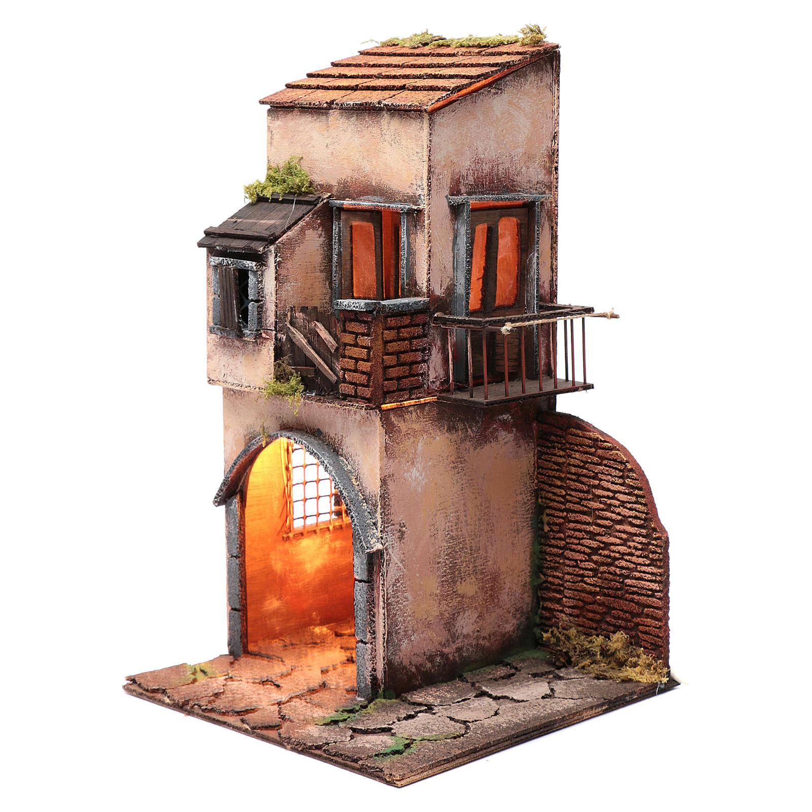 House with balcony and hut 50x25x25 cm  Neapolitan nativity scene 4