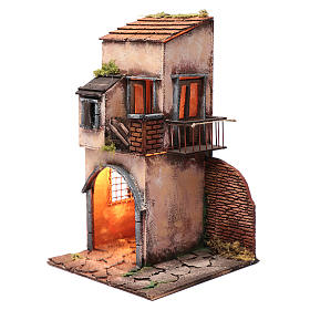 House with balcony and hut 50x25x25 cm  Neapolitan nativity scene s2