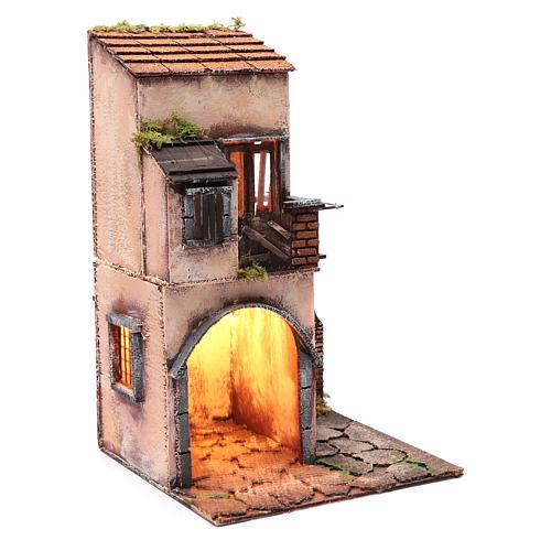 House with balcony and hut 50x25x25 cm  Neapolitan nativity scene 3