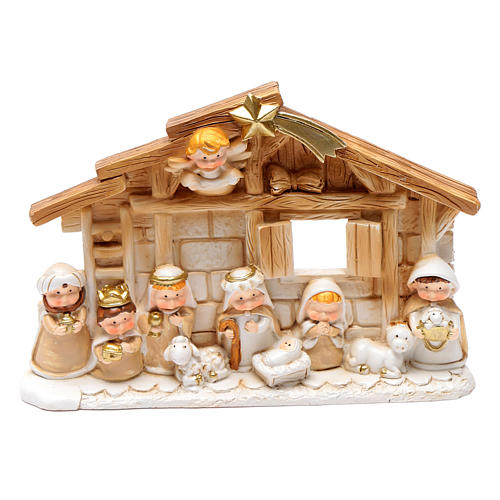 Resin hut for nativity scene 10x15 cm 1