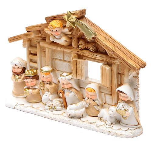 Resin hut for nativity scene 10x15 cm 2