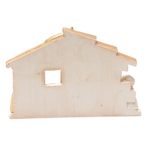 Pequeña cabaña de resina belén 10x15 cm 3