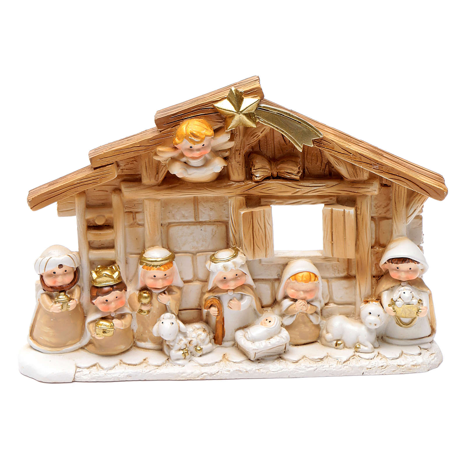 Resin hut for nativity scene 10x15 cm 4