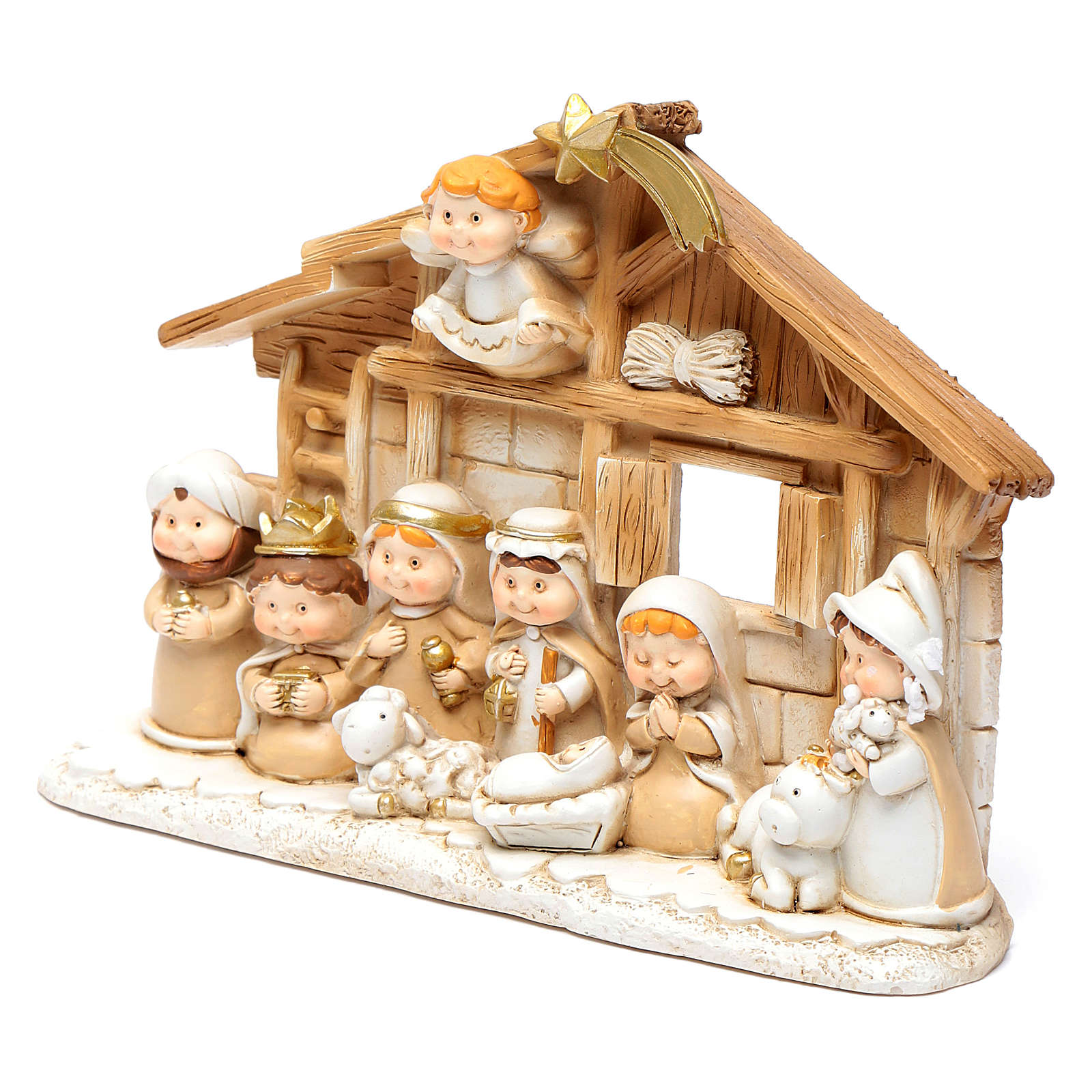 Children resin nativity scene hut15x20 cm 4