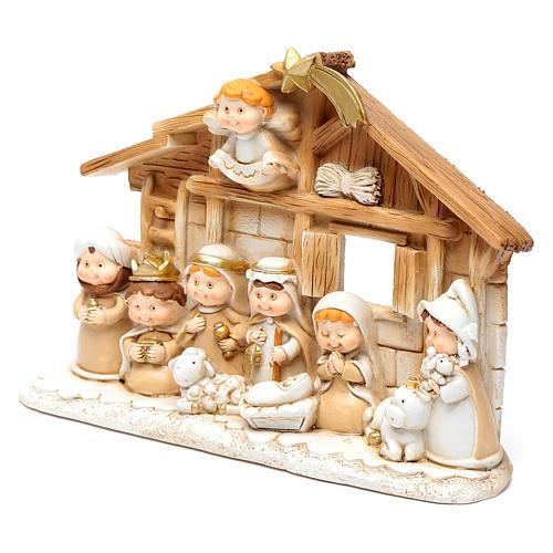 Children resin nativity scene hut15x20 cm 2