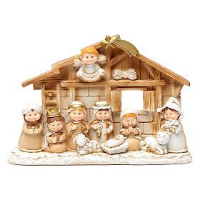 Pequeña cabaña belén niños 15x20 cm resina s1