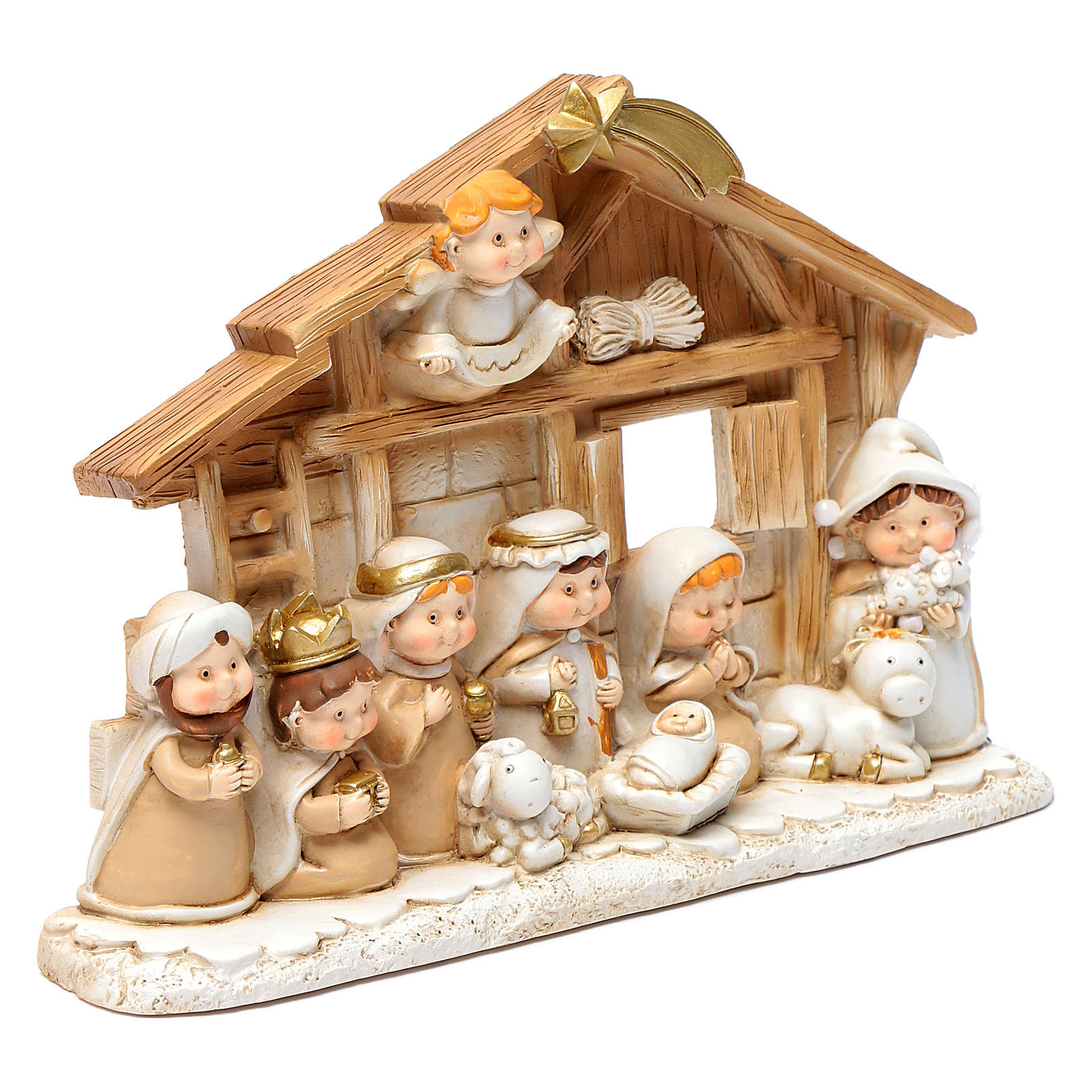 Children resin nativity scene hut 15x20 cm 4
