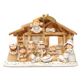 Children resin nativity scene hut 15x20 cm s1