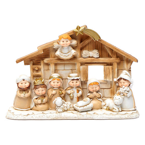 Children resin nativity scene hut 15x20 cm 1