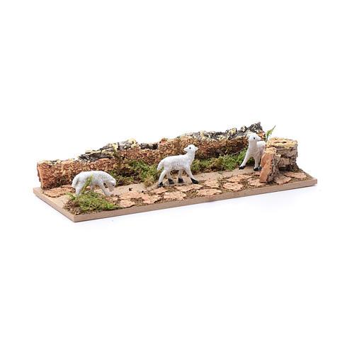 Tramo de ovejas en camino de corcho 5x15 cm para belén 3,5 cm 3