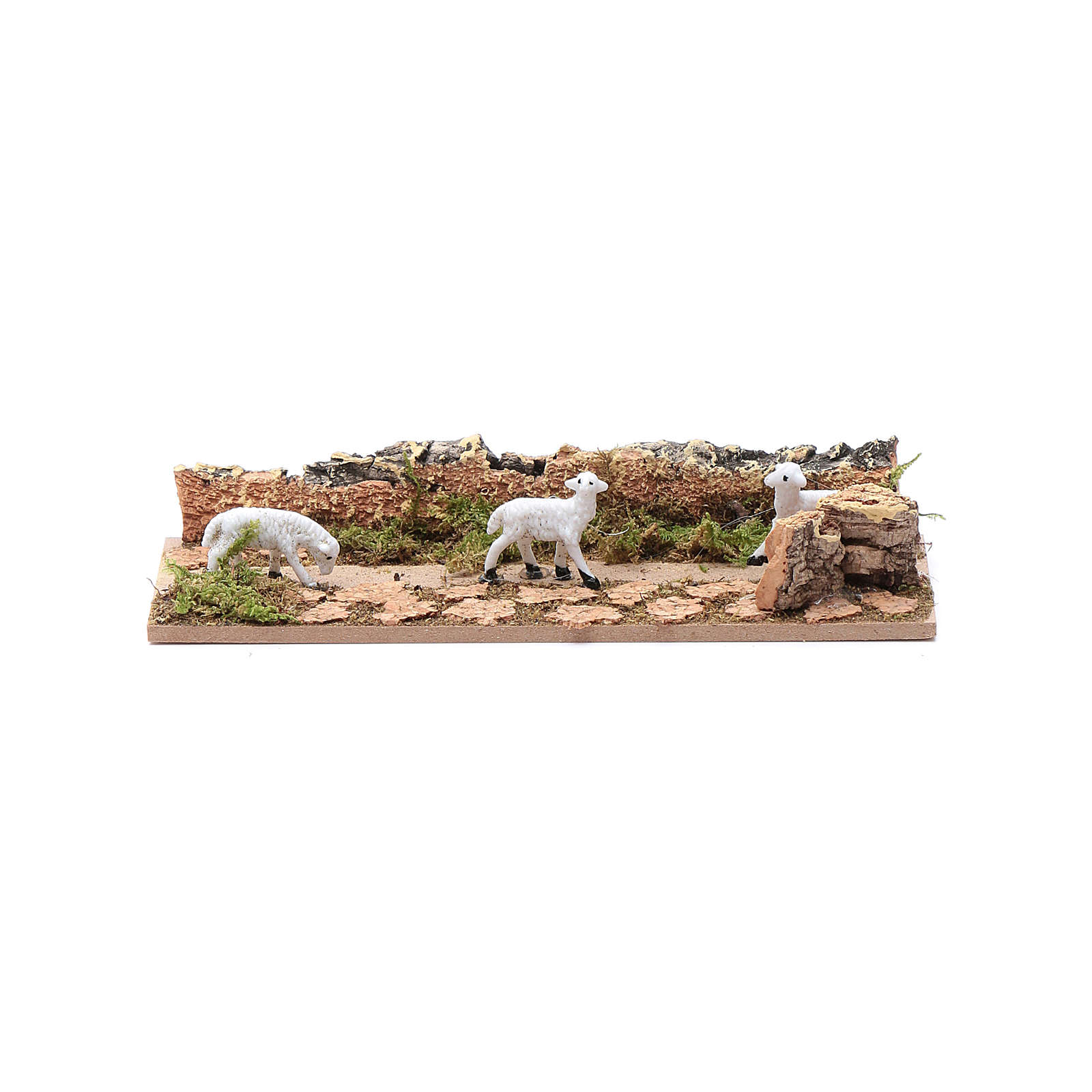Tratto di pecore in cammino in sughero 5x15 cm per presepe 3,5 cm 3