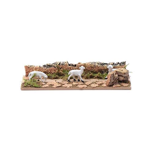 Tratto di pecore in cammino in sughero 5x15 cm per presepe 3,5 cm 1