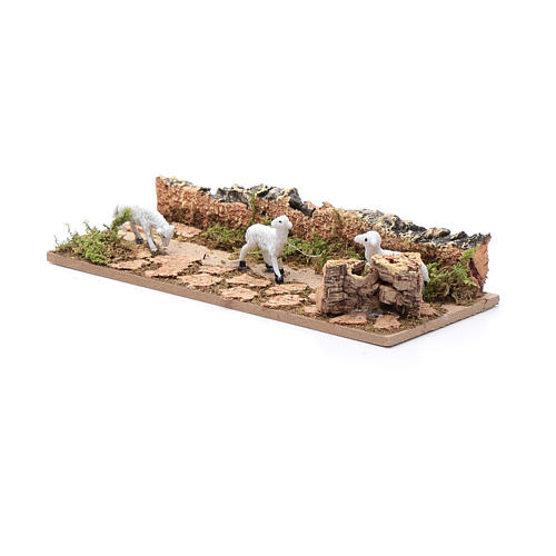 Tratto di pecore in cammino in sughero 5x15 cm per presepe 3,5 cm 2