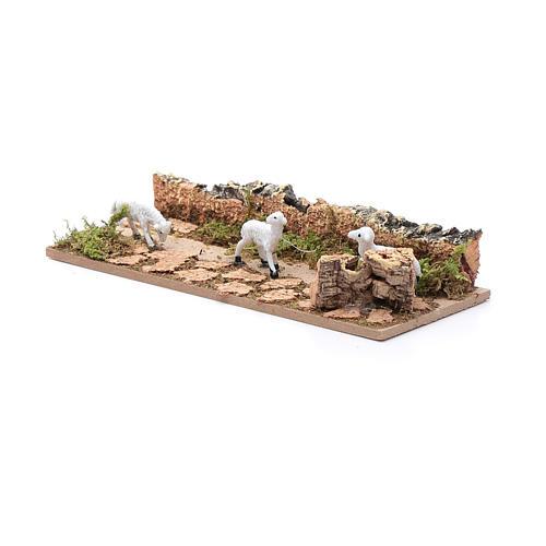 Ścieżka z owcami odcinek z korka 5x15 cm do szopki 3.5 cm 2