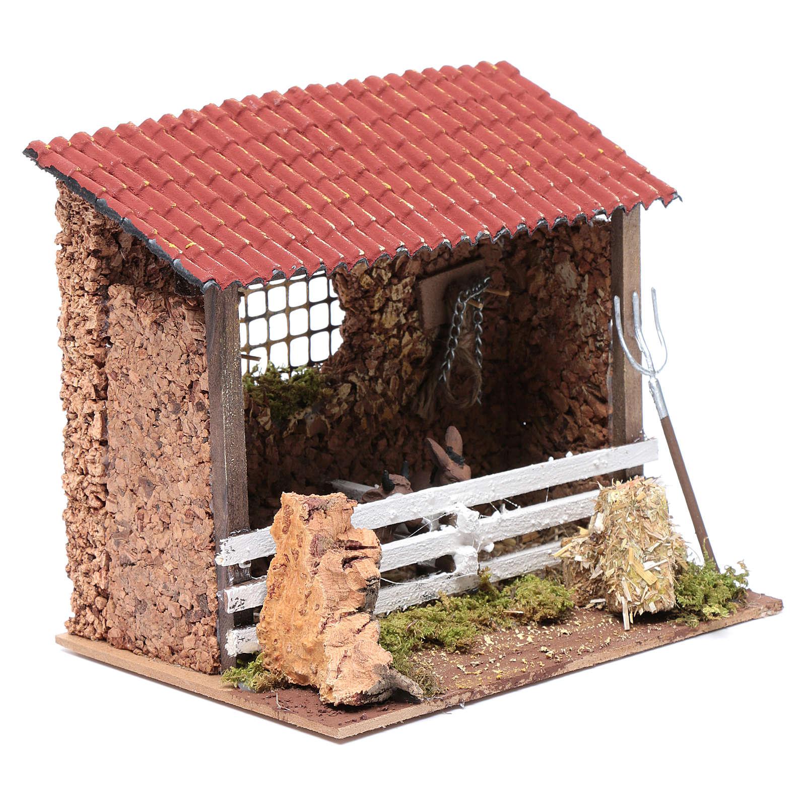 Corral con techo buey y burro 15x20x15 cm para belén 3
