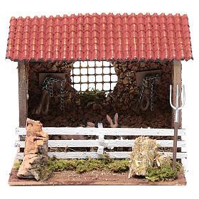 Corral con techo buey y burro 15x20x15 cm para belén s1