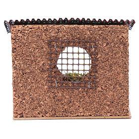 Corral con techo buey y burro 15x20x15 cm para belén s4