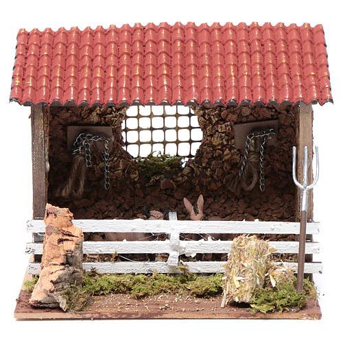Corral con techo buey y burro 15x20x15 cm para belén 1