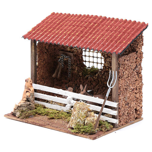 Corral con techo buey y burro 15x20x15 cm para belén 2