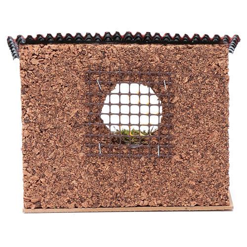 Corral con techo buey y burro 15x20x15 cm para belén 4