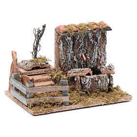 Nativity scene fountain with pump on rocky wall and roof s3