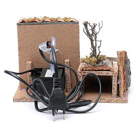Nativity scene fountain with pump on rocky wall and roof s4