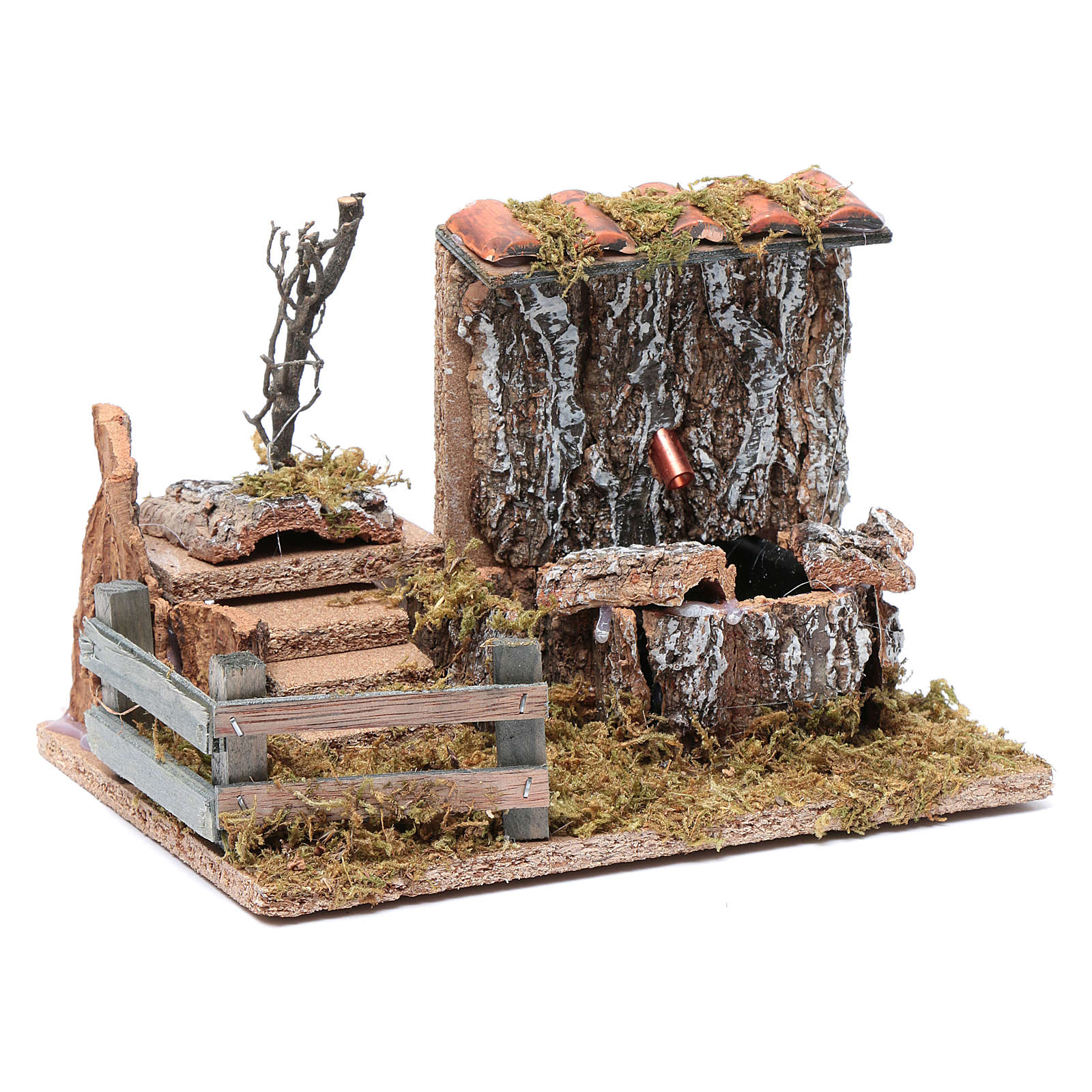 Nativity scene fountain with pump on rocky wall and roof 4