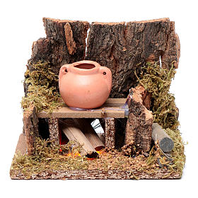 Fireplaces and ovens: Setting with jug on trembling fire  10x10x10 cm for nativity scene